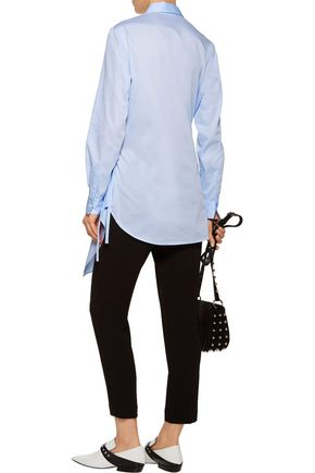 3.1 PHILLIP LIM Asymmetric wrap-effect cotton-broadcloth shirt