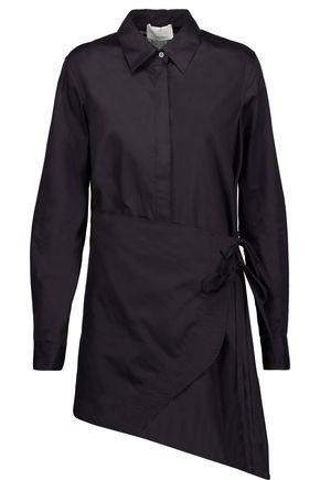3.1 PHILLIP LIM Asymmetric wrap-effect cotton-broadcloth shirt