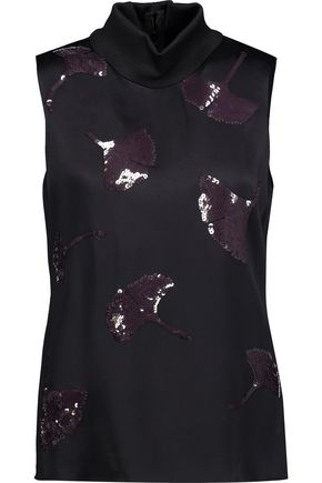 3.1 PHILLIP LIM Sequin-embellished satin turtleneck top