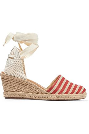 SCHUTZ Travina striped woven wedge espadrille sandals