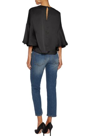 IRIS AND INK Marissa fluted charmeuse top