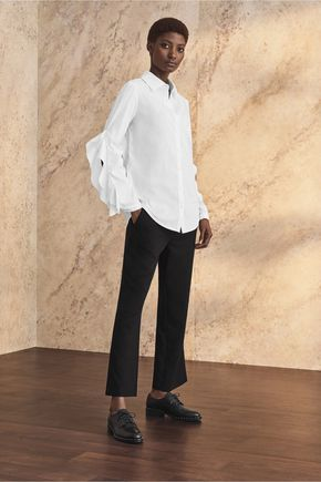 IRIS AND INK Ali stretch cotton-blend shirt