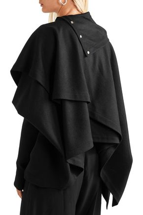 J.W.ANDERSON Asymmetric draped embellished boiled wool top