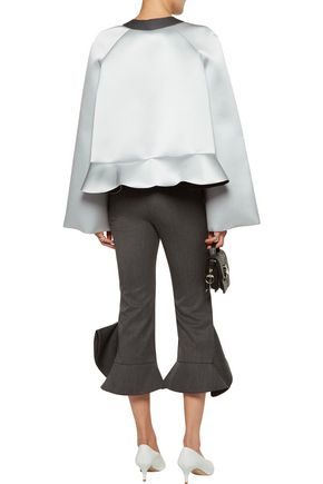 J.W.ANDERSON Ruffled wool-paneled silk-satin neoprene top