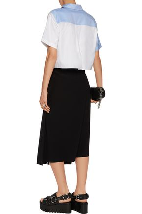 T by ALEXANDER WANG Two-tone cropped cotton shirt