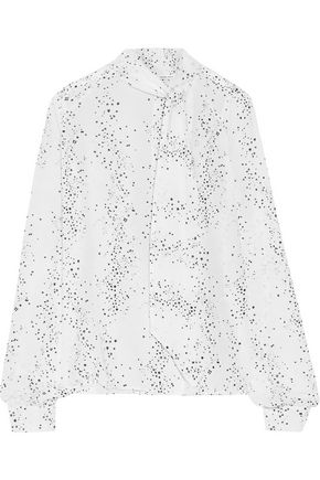 TOMAS MAIER Pussy-bow printed silk-georgette blouse