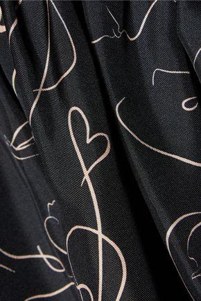 ROKSANDA Hamilton ruffled printed silk-twill  peplum top
