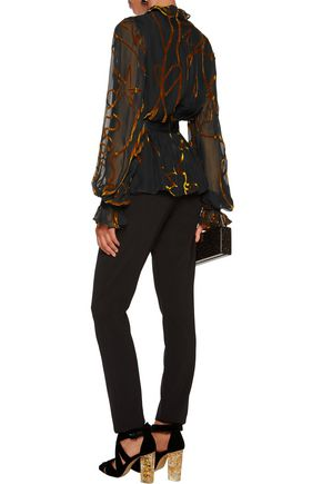 ROKSANDA Fairhurst ruffle-trimmed devoré-chiffon blouse