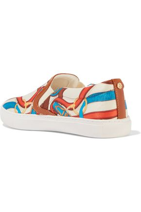 SAM EDELMAN Pixie faux leather-trimmed printed satin sneakers