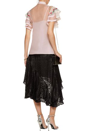 TEMPERLEY LONDON Elette embroidered mesh-trimmed silk-organza top