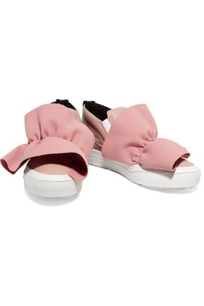 MSGM Ruched crepe-trimmed leather slip-on sneakers