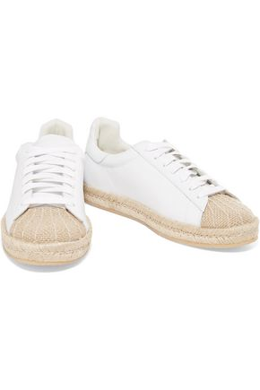 ALEXANDER WANG Rian leather and raffia sneakers