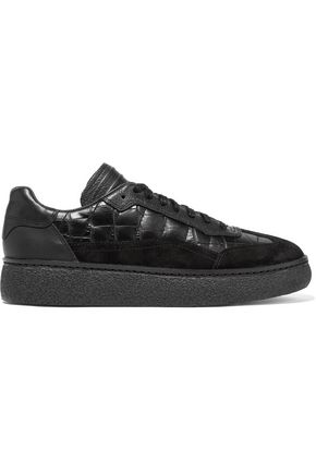ALEXANDER WANG Eden suede-trimmed croc-effect leather sneakers