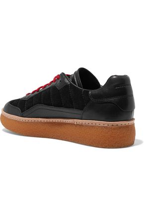 ALEXANDER WANG Eden paneled leather and suede sneakers