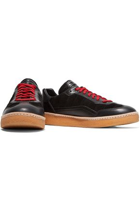 ALEXANDER WANG Eden paneled suede and leather sneakers