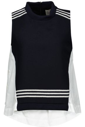 SEA Paneled striped wool-blend and cotton-poplin top