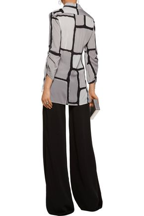 HALSTON HERITAGE Ruched printed silk-blend blouse