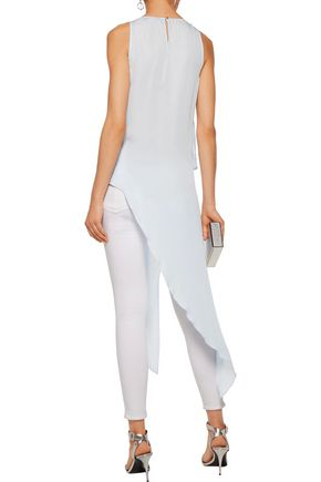 HALSTON HERITAGE Bead-embellished asymmetric silk top