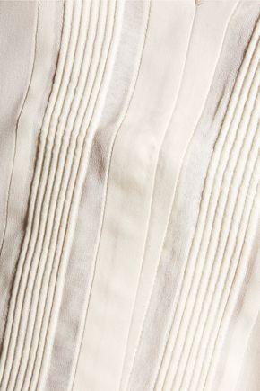 HALSTON HERITAGE Paneled pintucked silk-blend crepe de chine and silk-chiffon top