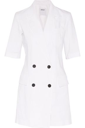DKNY Double-breasted stretch-linen playsuit