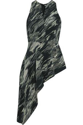 HALSTON HERITAGE Asymmetric printed silk-chiffon top