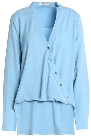 HALSTON HERITAGE Wrap-effect asymmetric twill blouse