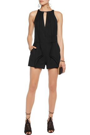 HALSTON HERITAGE Draped crepe de chine playsuit