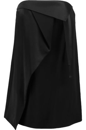 HALSTON HERITAGE Layered satin and crepe top