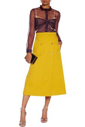 MARY KATRANTZOU Ruffle-trimmed tulle blouse