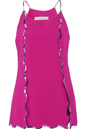 MARY KATRANTZOU Garnet scalloped crepe camisole