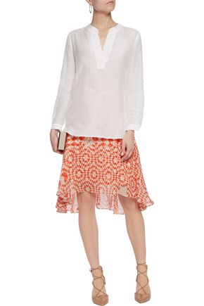 DIANE VON FURSTENBERG Cotton and silk-blend voile top