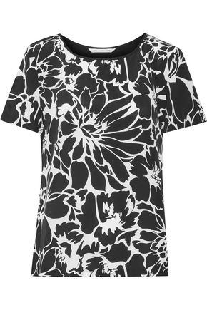 DIANE VON FURSTENBERG Ora floral-print silk crepe de chine and stretch-jersey top