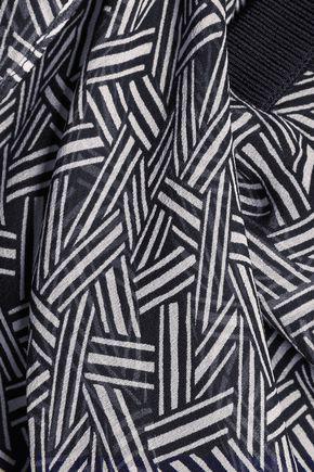 DIANE VON FURSTENBERG Amadine rib knit-trimmed printed silk-chiffon top