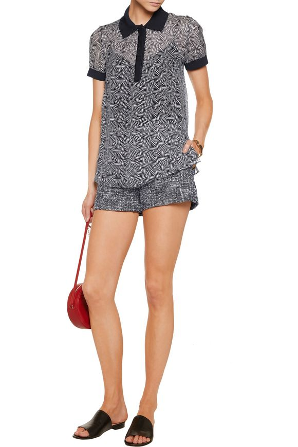 Amadine rib knit-trimmed printed silk-chiffon top | DIANE VON FURSTENBERG |  Sale up to 70% off | THE OUTNET