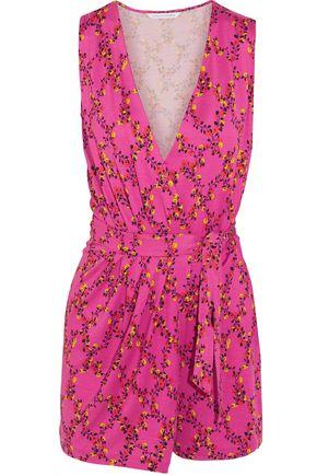 DIANE VON FURSTENBERG Maeve floral-print silk-jersey wrap playsuit
