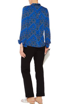 DIANE VON FURSTENBERG Britni pussy-bow printed silk blend blouse