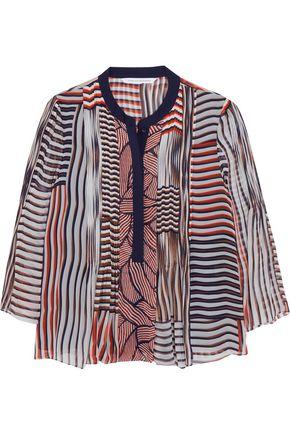 DIANE VON FURSTENBERG Kimberlee pintucked printed silk-chiffon blouse