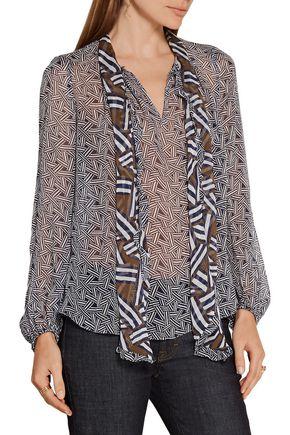 DIANE VON FURSTENBERG Fernanda pussy-bow printed silk-georgette blouse