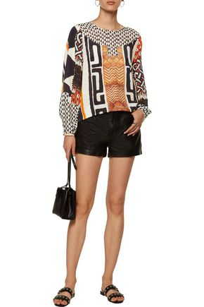CAMILLA Printed silk-voile top