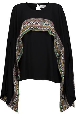 WOMAN CAPE-EFFECT PRINTED CREPE TOP BLACK