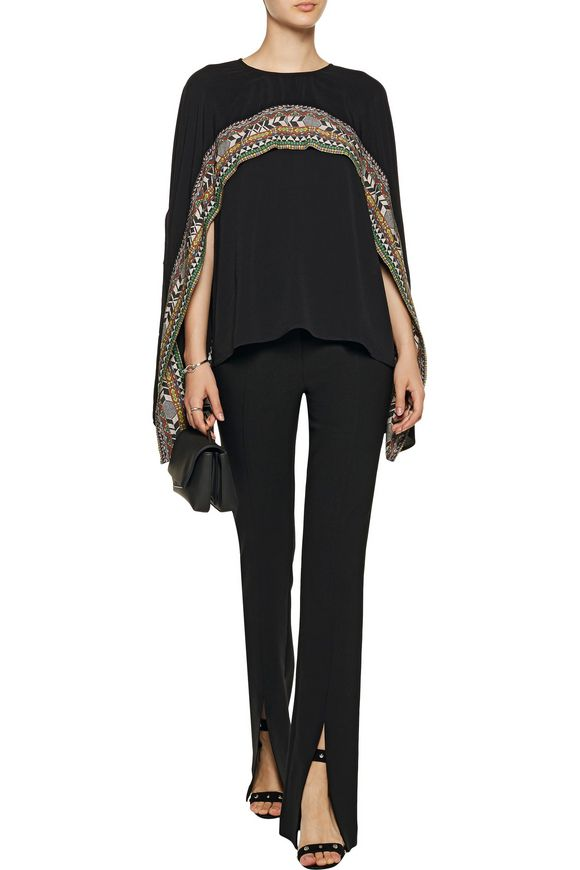 Cape-effect printed crepe top   CAMILLA   Sale up to 70% off   THE OUTNET