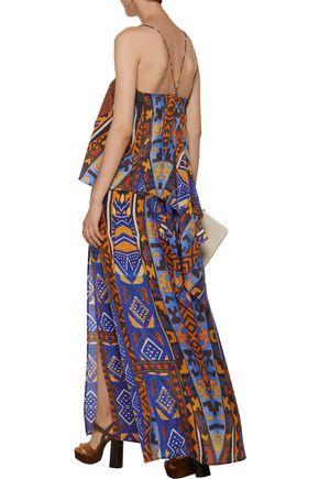 CAMILLA Draped printed silk-chiffon camisole