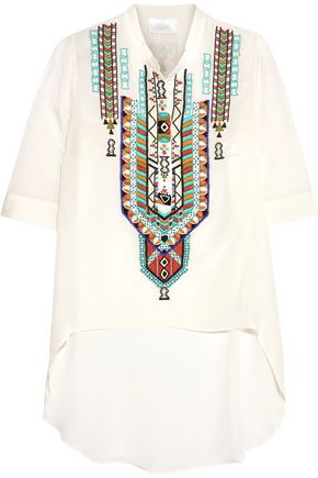 CAMILLA Bead-embellished embroidered silk blouse