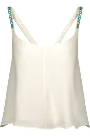 CAMILLA Embellished embroidered silk crepe de chine top
