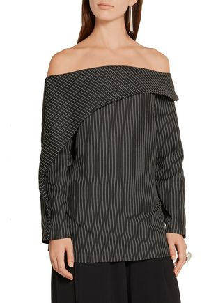 PAPER London Epoch off-the-shoulder pinstriped twill top