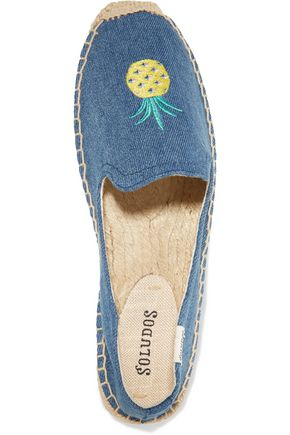 SOLUDOS Embroidered denim espadrille