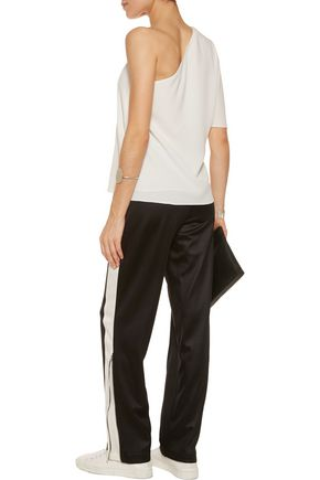 TIBI One-shoulder stretch-crepe top