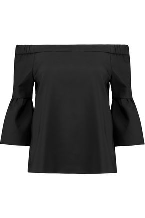 TIBI Off-the-shoulder stretch-faille top