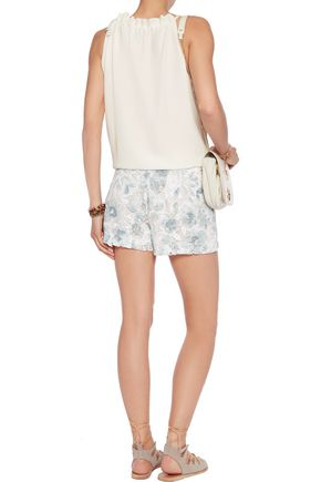 JOIE Ebele embroidered cotton-lace shorts