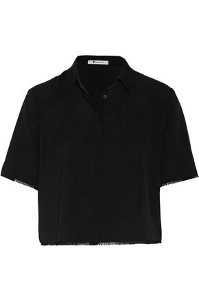 T by ALEXANDER WANG Cropped frayed stretch-silk top